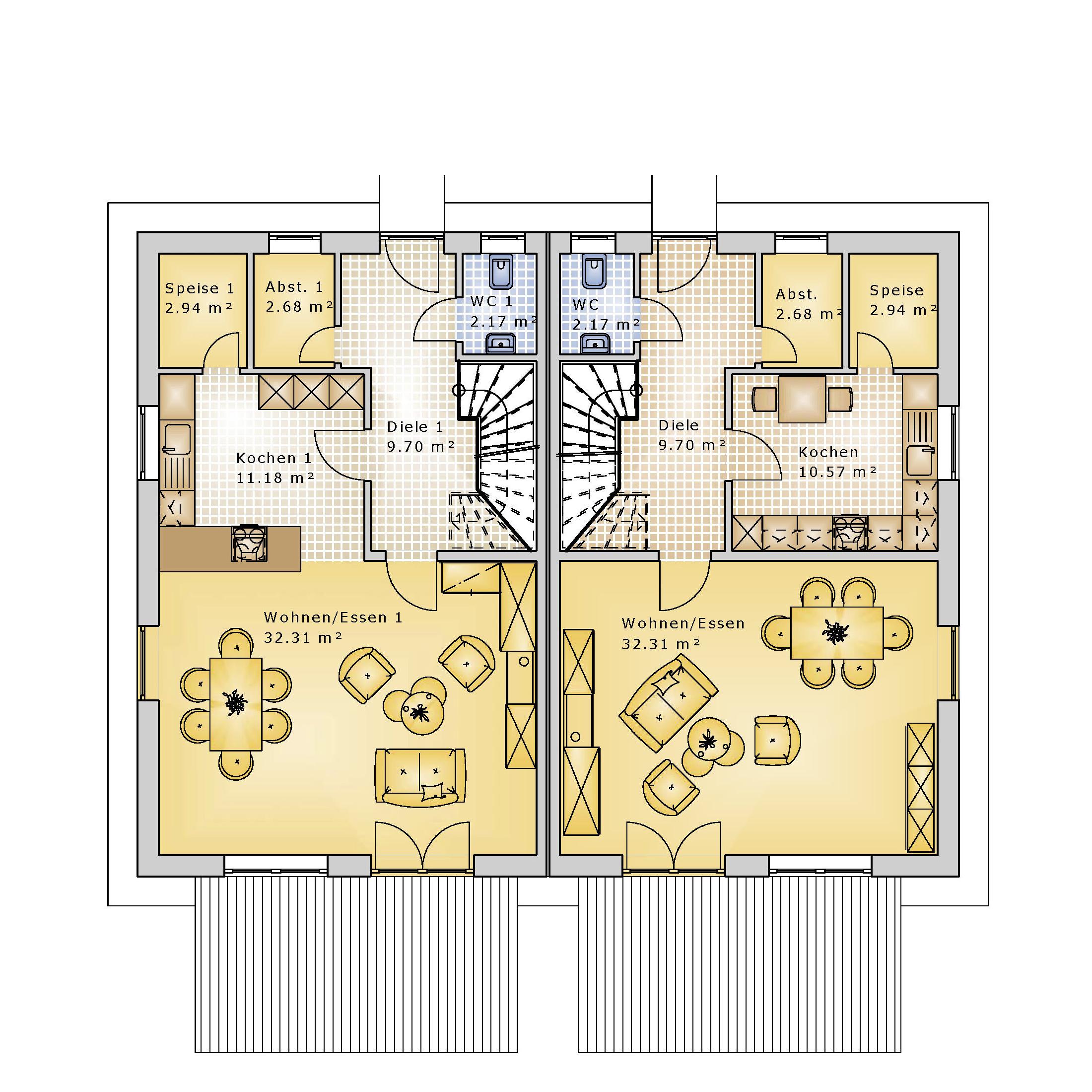 Doppelhaus sd 115 k k immobilien immobilienmakler for Doppelhaus grundriss modern