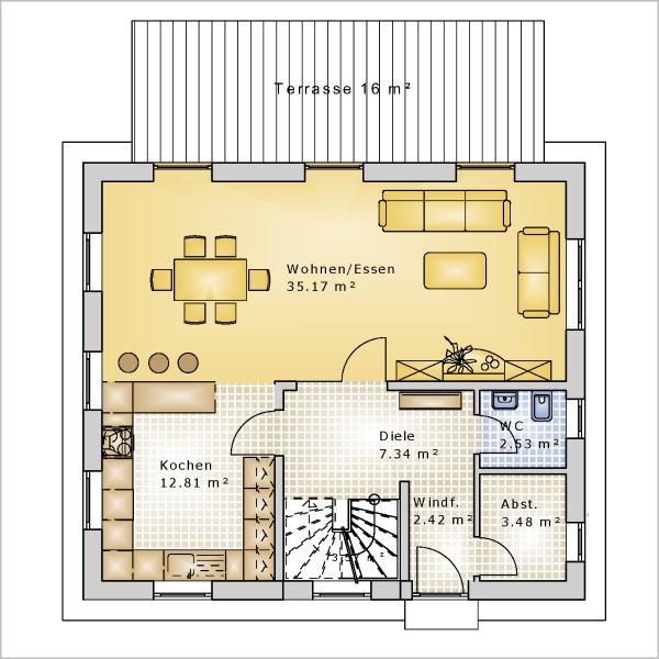 Haus pd 127 k k immobilien immobilienmakler for Pultdachhaus grundriss